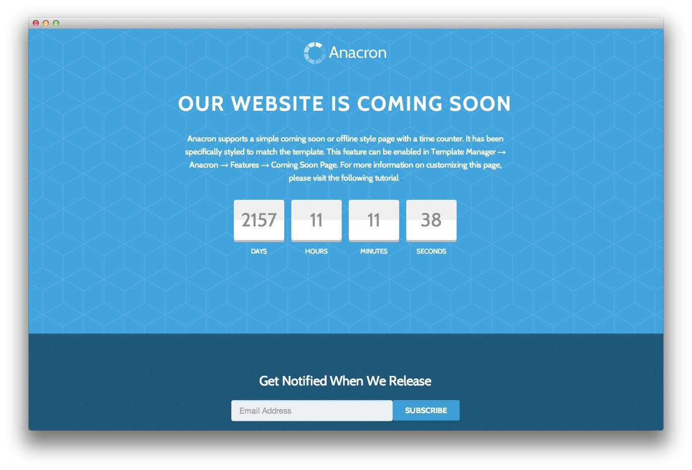 Anacron Introduces A Coming Soon Page
