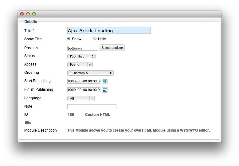 loading in html
