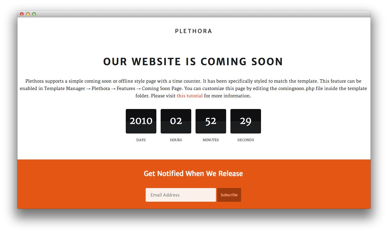 Plethora Features A Coming Soon Page Which Allows You To Display Stylish Indicating That Your Site Is Either Being Worked On Or Under Construction